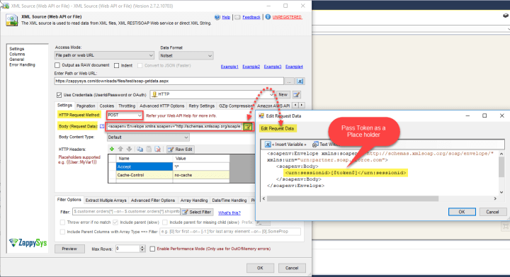 ZS SSIS XML Source Component: Enter SOAP Request Body