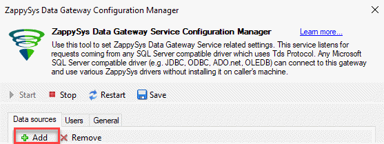 Gateway add Data Source