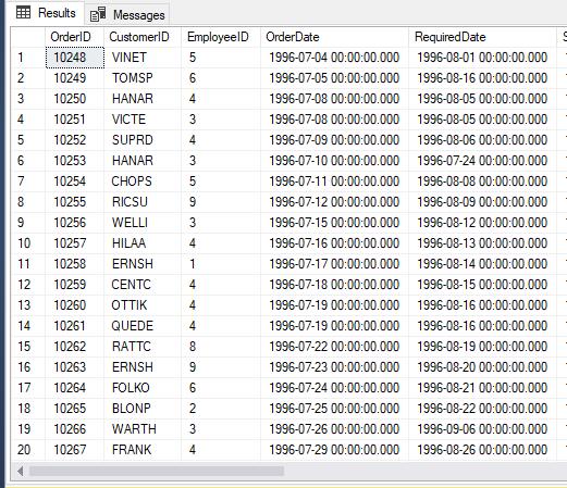 SQL Server Order table