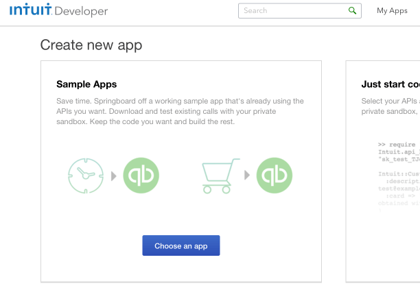 Create new App: Select APIS