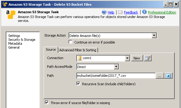 How to delete Amazon S3 File / Folder / Bucket in SSIS