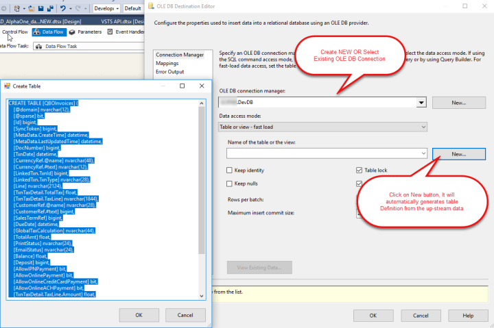 OLE DB Destination Component - Configure for dumping Invoices from QuickBooks Online data in SQL Table