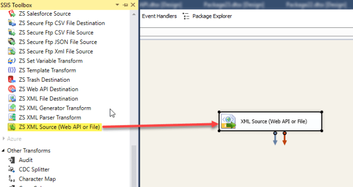 Drag and Drop XML Source Component to read data from QuickBooks Online