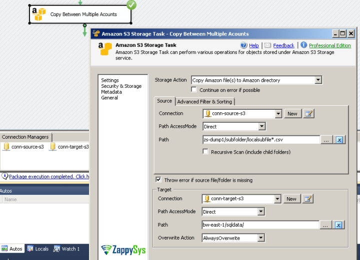Copy Amazon S3 Files using SSIS (Copy Files between multiple Accounts / S3 Buckets)