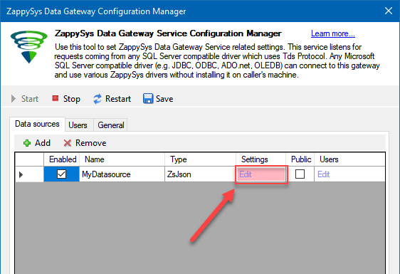 Edit Gateway Data Source Settings