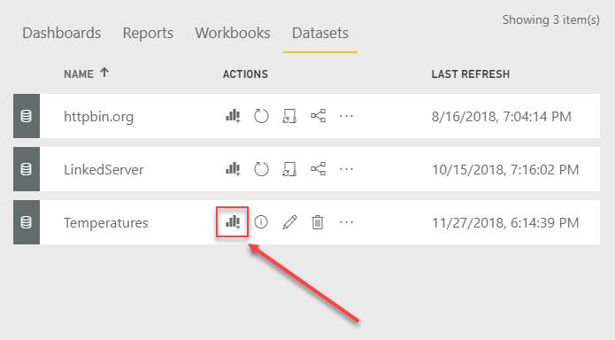 Create new Power BI Report for real time dataset
