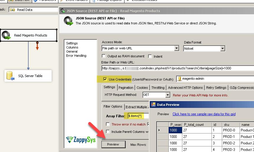 SSIS Magento data Read / Write using REST API Call