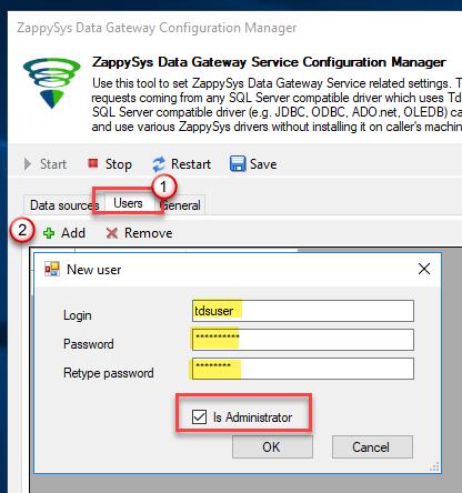 Add Data Gateway User
