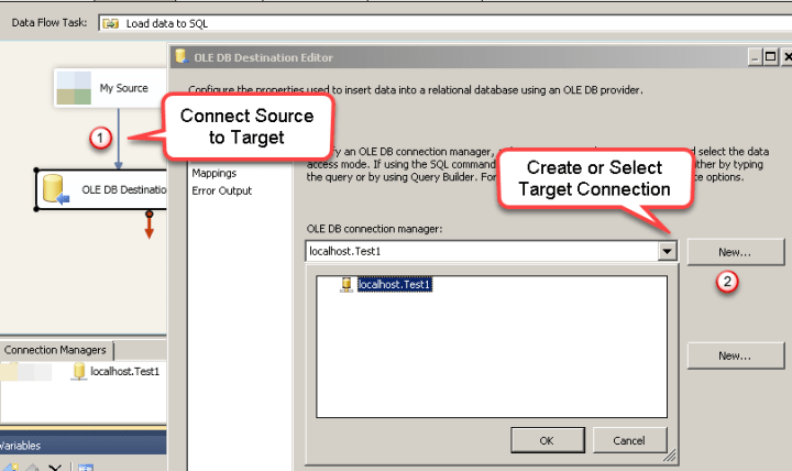 Configure SSIS OLEDB Destination Connection - Loading data (REST / SOAP / JSON / XML /CSV) into SQL Server or other target using SSIS