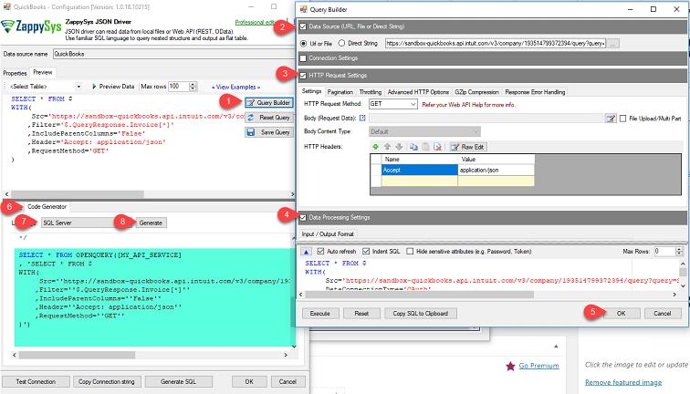 Read data from QuickBooks Online into SQL Server via ODBC