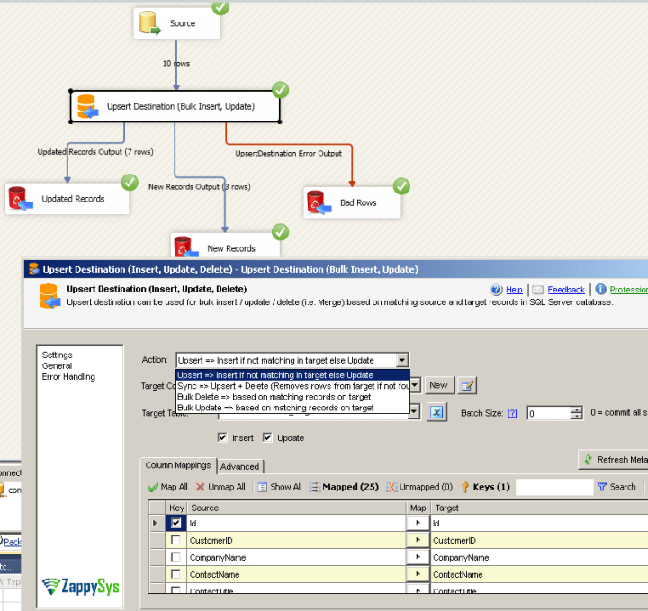 Bulk Update / Insert using SSIS Upsert Destination
