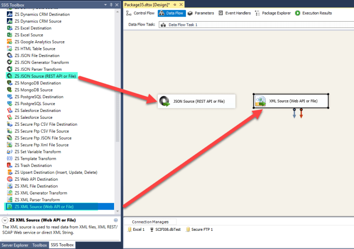 SSIS Add JSON or XML Source