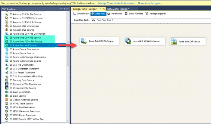 Add Azure Blob Source Tasks