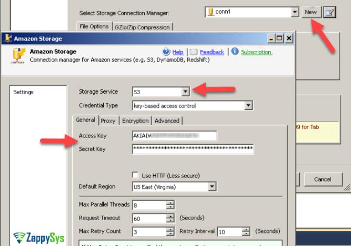 Create Amazon S3 Storage Connection