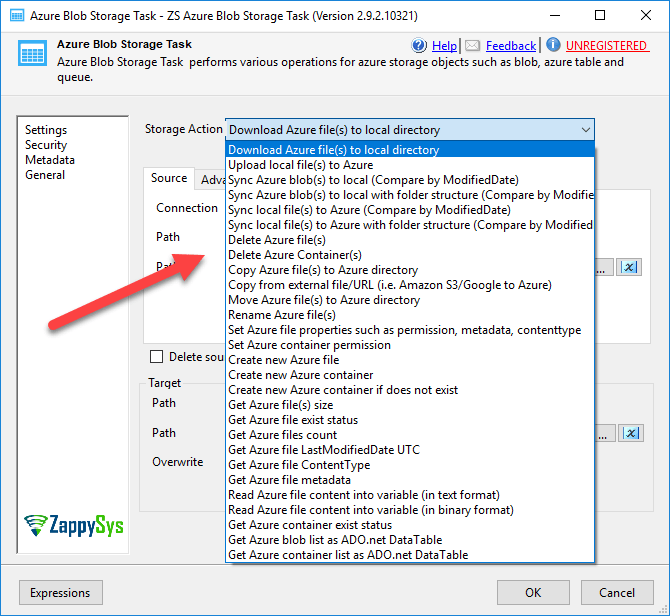 Option to upload, download files in SSIS
