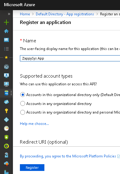 Azure OAuth App Registration - Select Type
