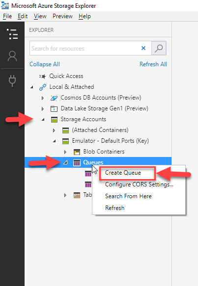 Microsoft Azure Storage Explorer : Create Blob Queue