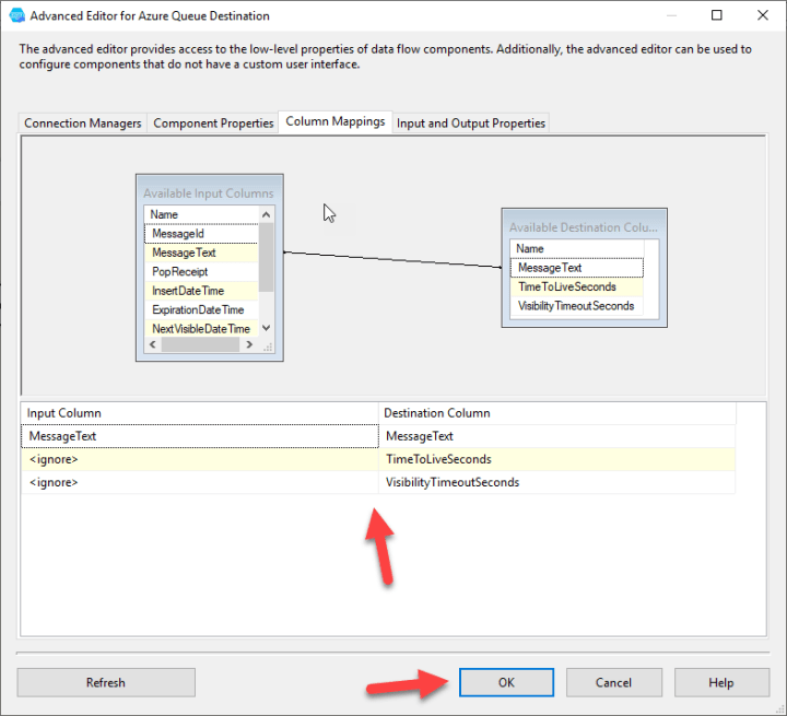 Azure Queue Destination : Column Mapping