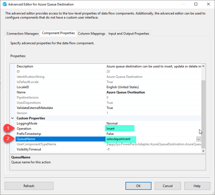 Azure Queue Destination : Select Queue to Insert Messages