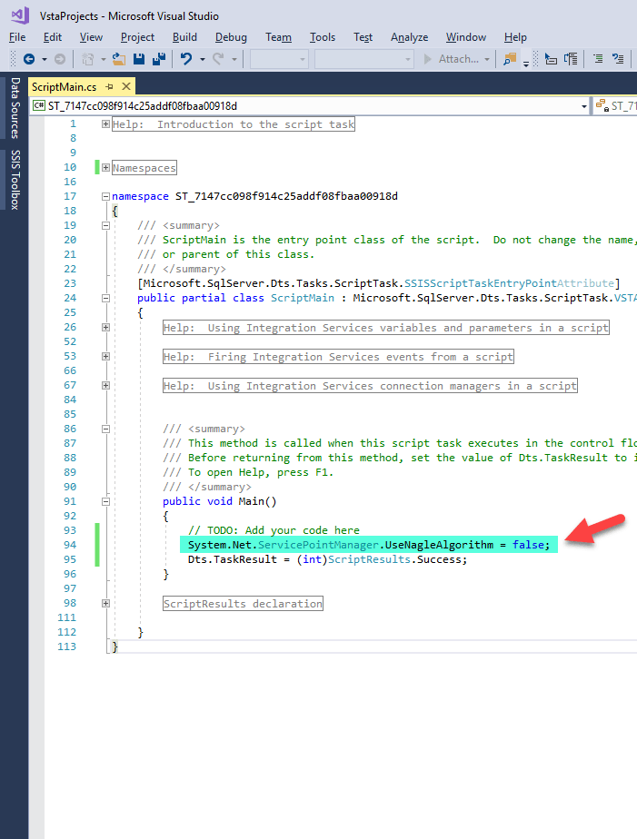 Script Task : Disable Nagle