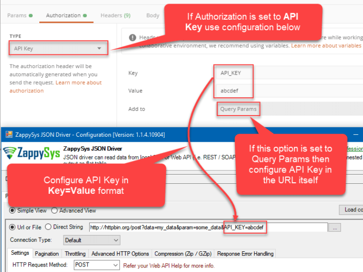 Authentication - Migrate Postman API Key (via URL query parameter) setting to ODBC Driver