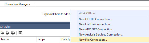 Create a new file connection