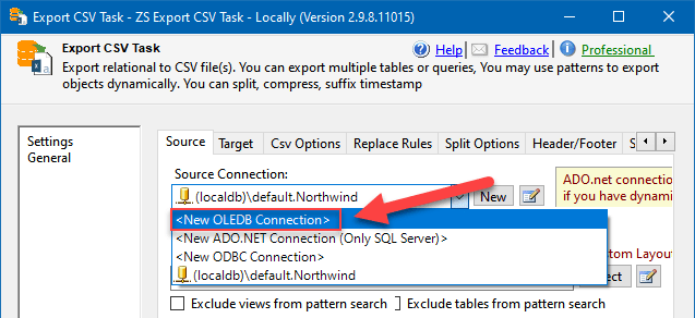 Export CSV Task: configuring OLE DB Connection to export data from SQL Server to Snowflake