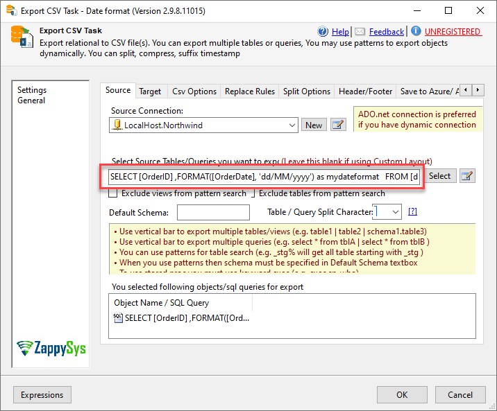SSIS export in a custom format