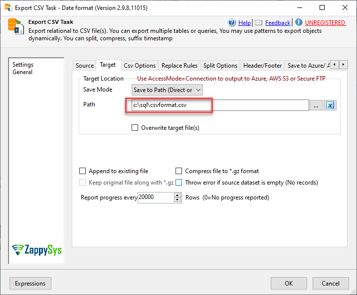 SSIS path to export a SQL Server query