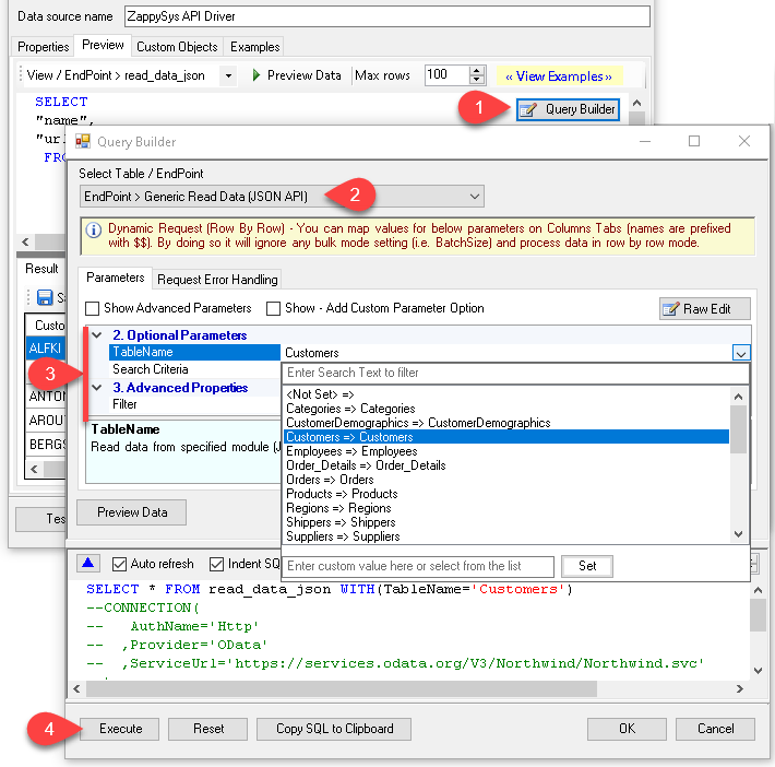 ZappySys API Driver - Query Builder - Generate SQL