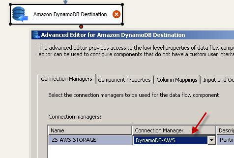 Configure SSIS Amazon DynamoDB Destination Adapter - Connection Tab