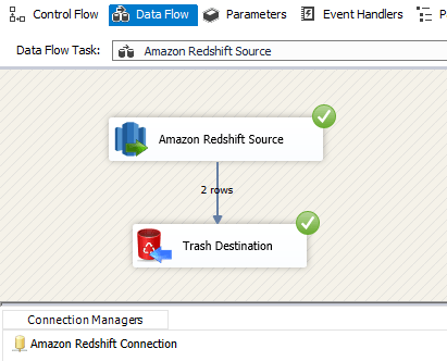 SSIS Amazon Redshift Source - Run or Execute the Package