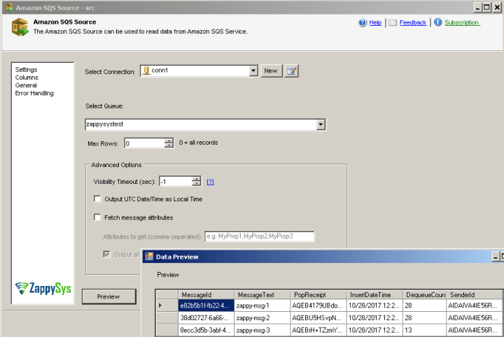 SSIS Amazon SQS Source - Configure