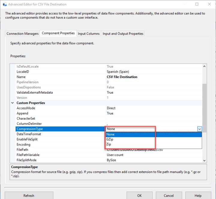 SSIS ZS CSV File Destination - Compression Type