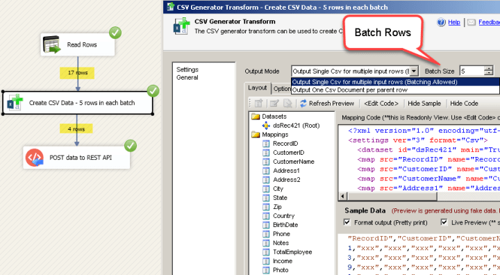 SSIS CSV Generator Transform UI (Batch Records Example)