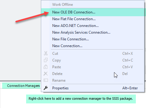 Create OLE DB Connection