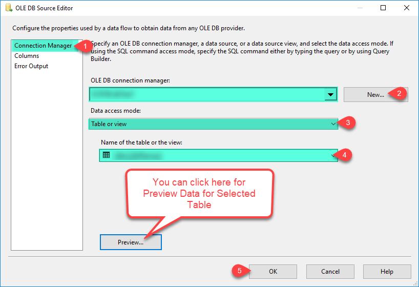 Configure OLE DB Source Editor