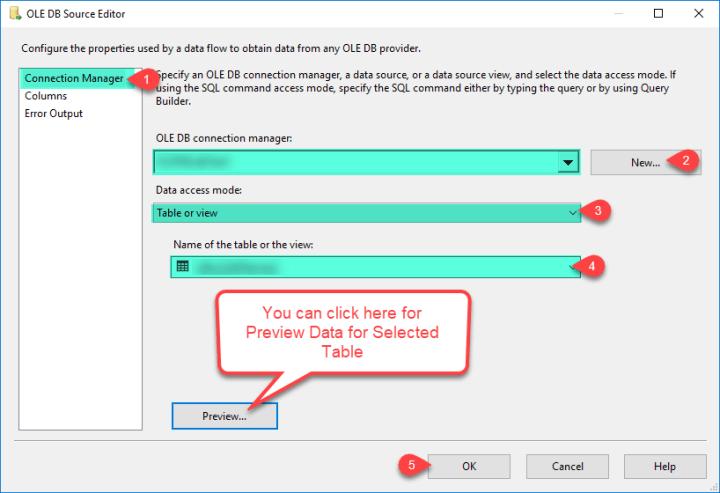 SSIS OLE DB Source - Configure Source Editors