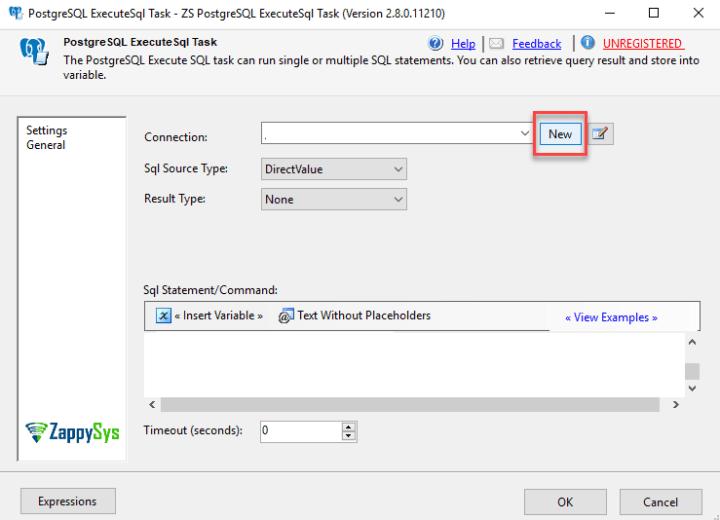 SSIS PostgreSQL Execute SQL Task | ZappySys