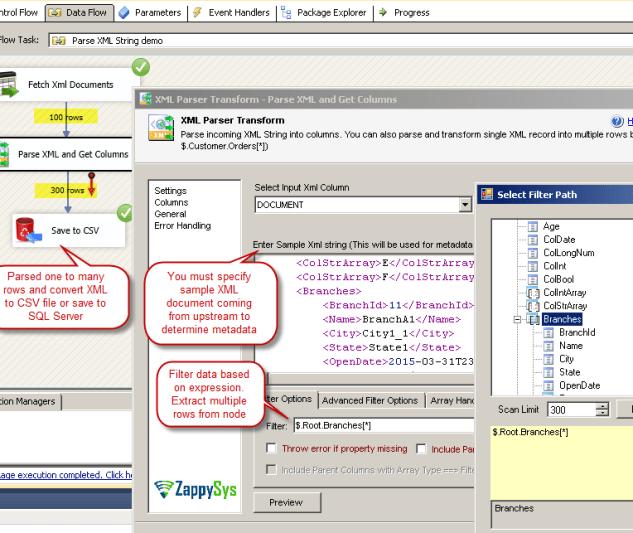 SSIS XML Parser Transform – Parse XMl Document