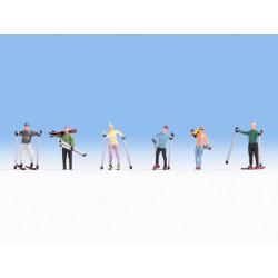 Conjunto de esquiadores, Seis figuras, Escala H0. Marca Noch, Ref: 15827.