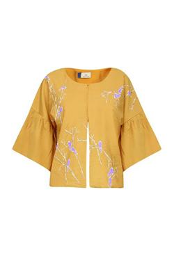 Show Shaa Yellow Birds Motifs Kimono Sleeves Cape