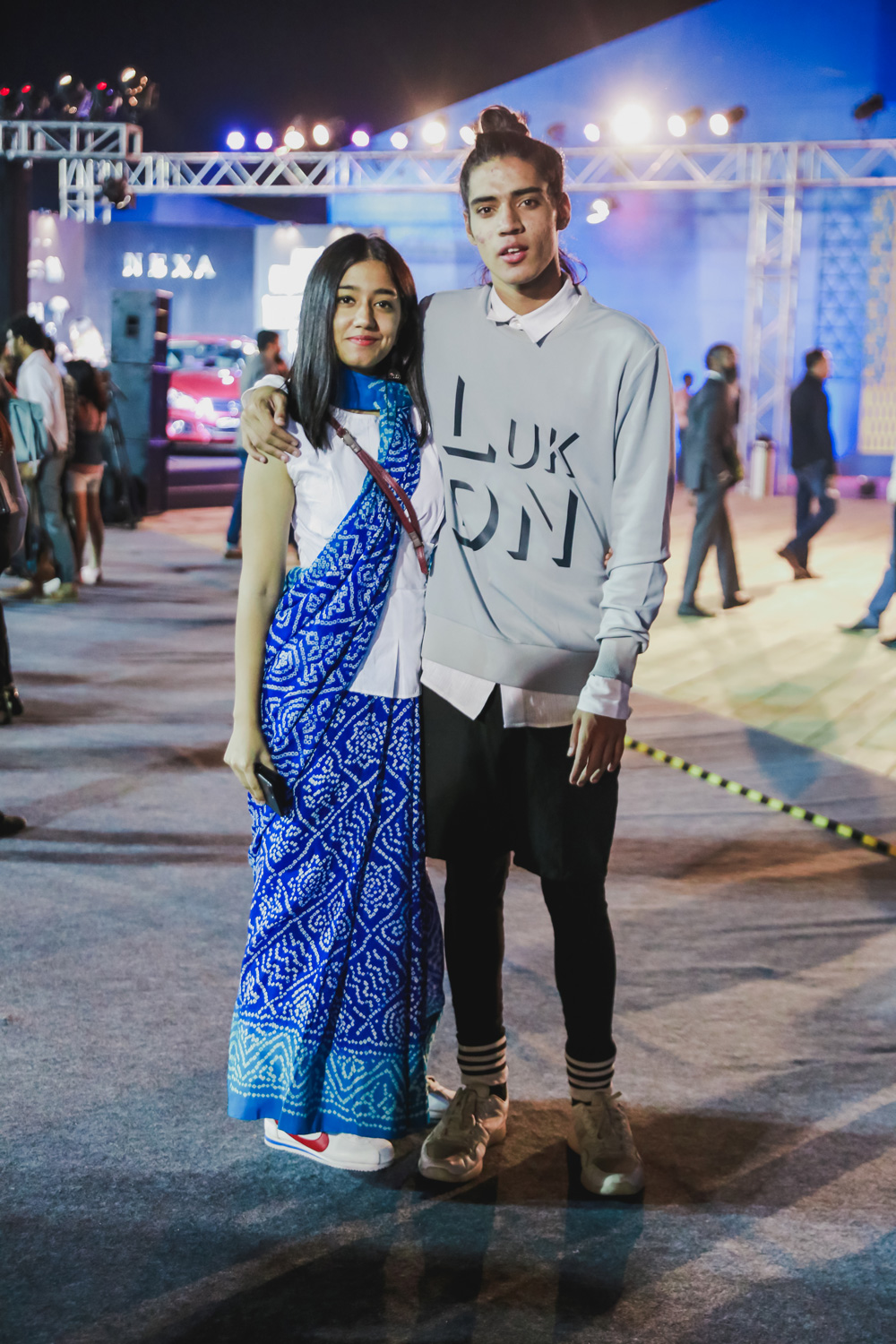 Joshya Sethi and Model Stuart Court | Street Style Amazon India Fashion Week Spring Summer 2018; Photo by The Co Lab