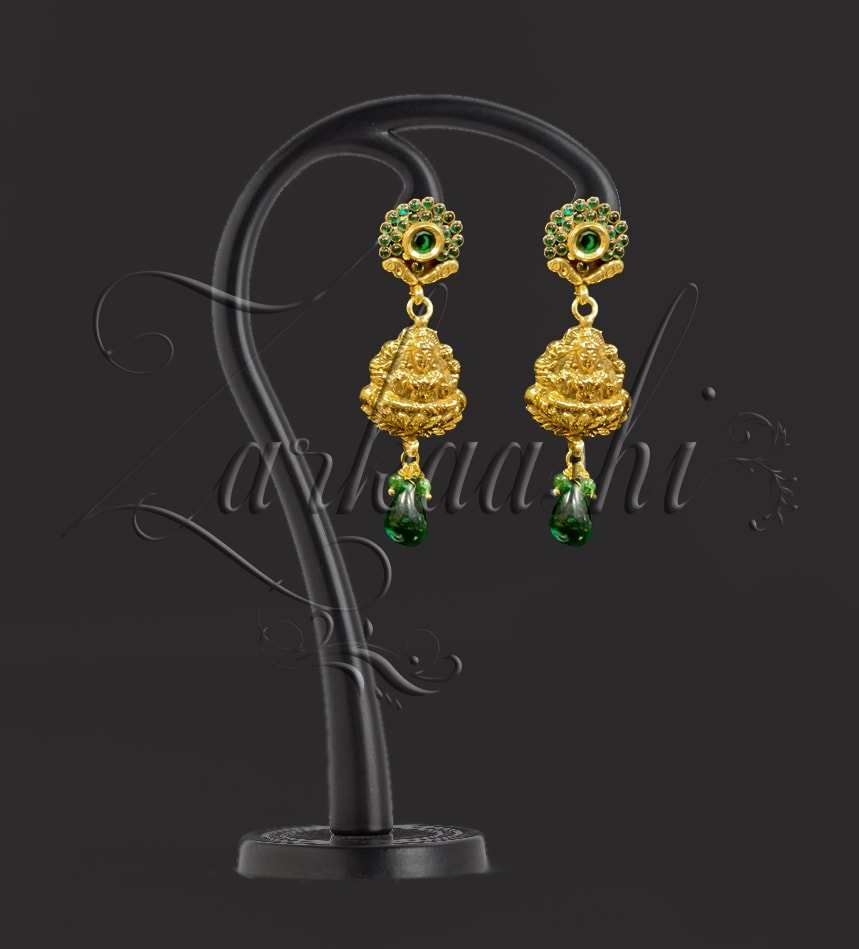 BEST TEMPLE NECKLACE SET WITH GREEN STONES