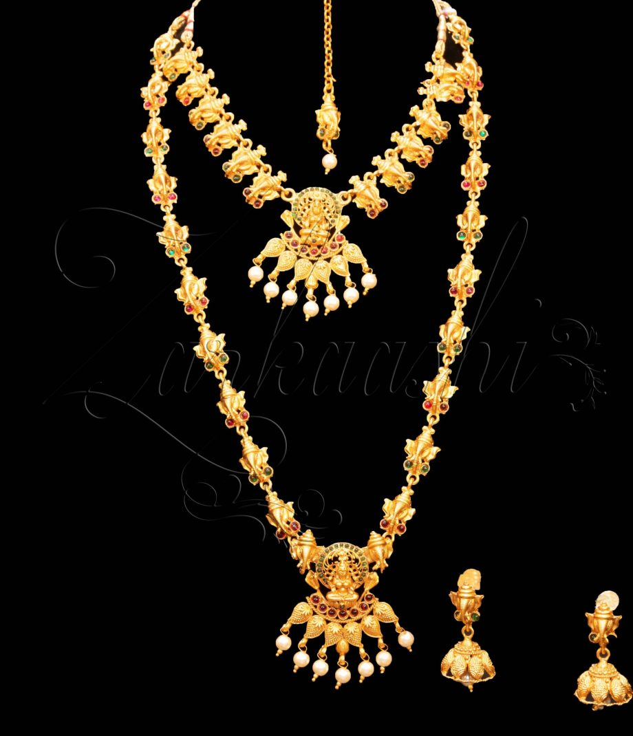 Lord Ganesha Double Temple Necklaces Set