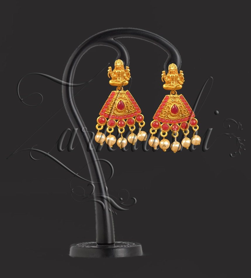 BEST LAXMI EARRING WITH RUBY STONE