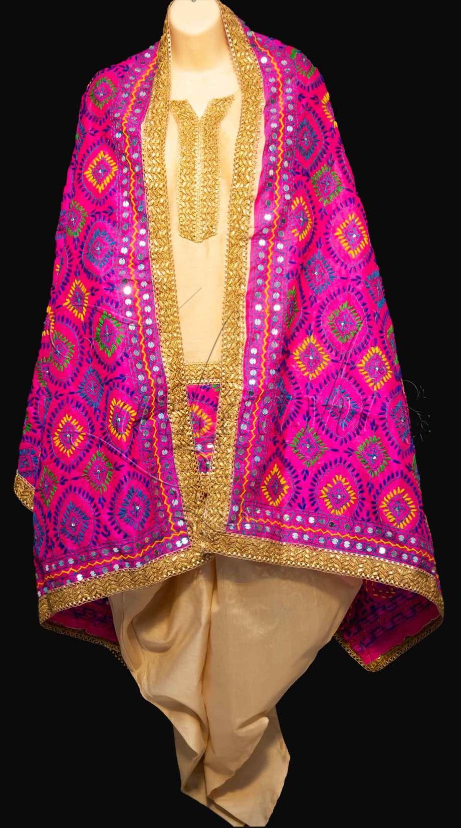 Best Chanderi Silk Suit with Dhoti and Phulkari work