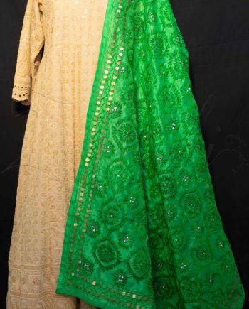Best Green Phulkari Dupatta with Mirrors