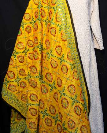 Best Chanderi Silk Phulkari with Mirror work Dupatta