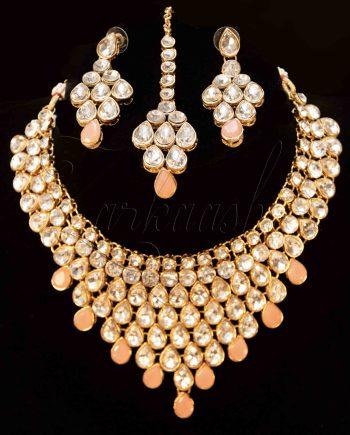 Best Kundan Necklace Set with Maang Tikka